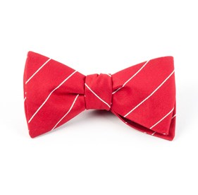 Pencil Pinstripe Apple Red Bow Ties