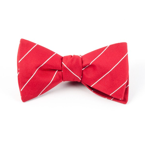 Apple Red Pencil Pinstripe Bow Tie