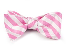 Bow Ties - TWILL WHITE STRIPE - WILD PINK