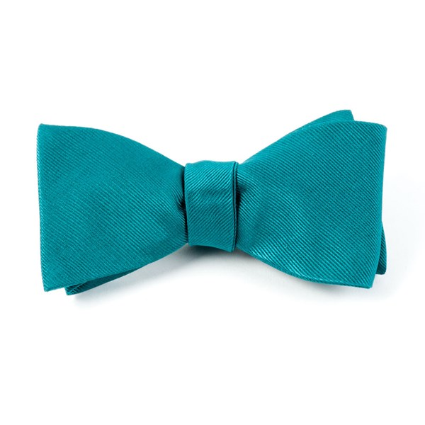 Green Teal Grosgrain Solid Bow Tie