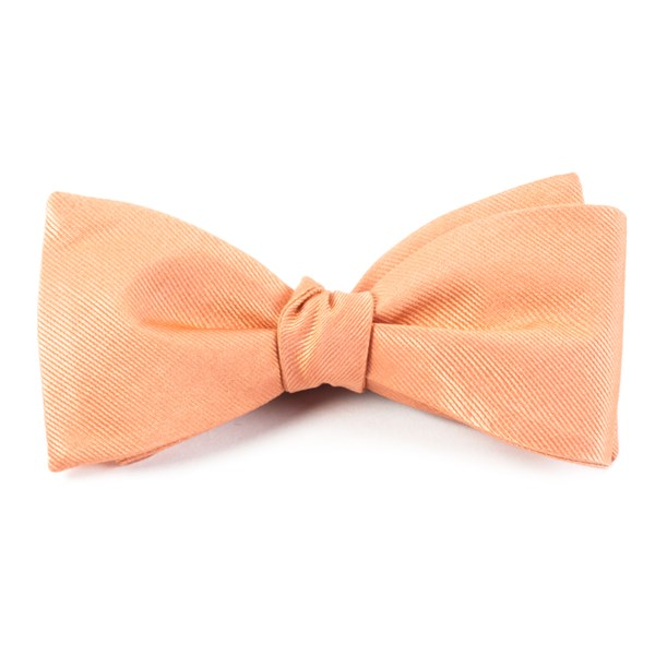 Peach Grosgrain Solid Bow Tie