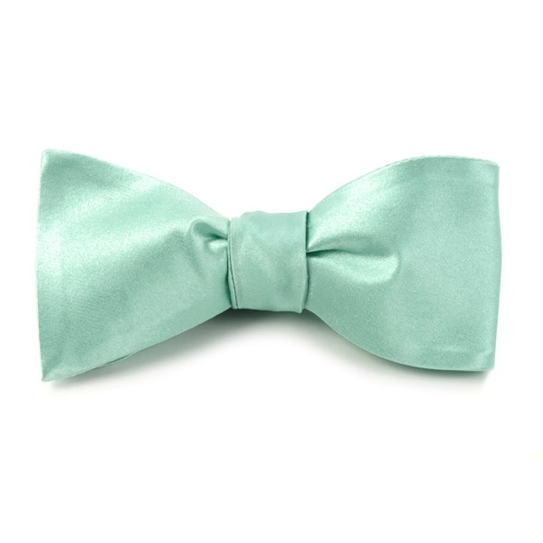 Spearmint Solid Satin Bow Tie