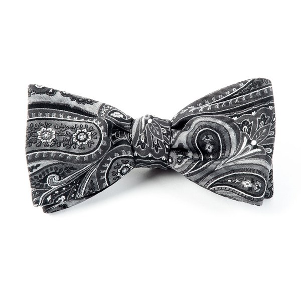 Charcoal Empire Paisley Bow Tie
