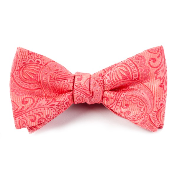 Coral Twill Paisley Bow Tie