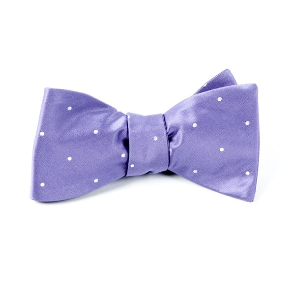 Lavender Satin Dot Bow Tie