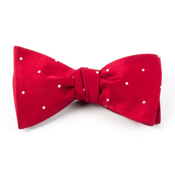 Red Satin Dot Bow Tie