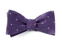 Bow Ties - Satin Dot - Eggplant