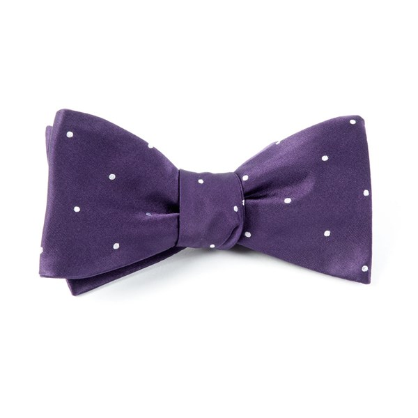 Eggplant Satin Dot Bow Tie