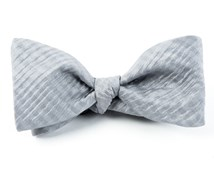 BOW TIES - SILK SEERSUCKER SOLID - SILVER