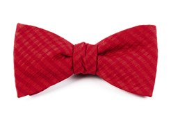 BOW TIES - SILK SEERSUCKER SOLID - RED