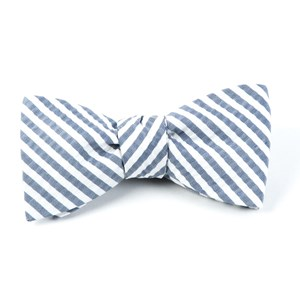 silk seersucker stripe midnight navy bow ties