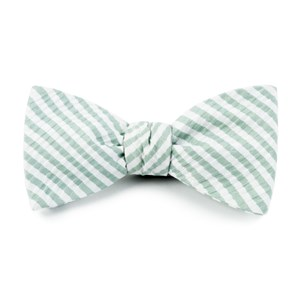 silk seersucker stripe spring mint bow ties
