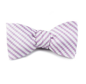 Silk Seersucker Stripe Orchid Bow Ties