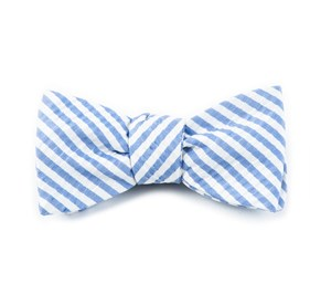 Silk Seersucker Stripe Periwinkle Bow Ties