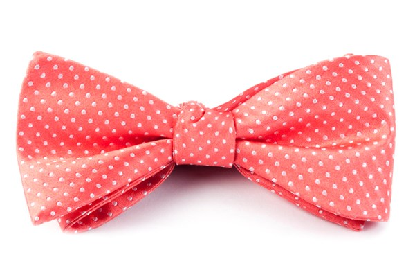 Pindot Coral Bow Tie