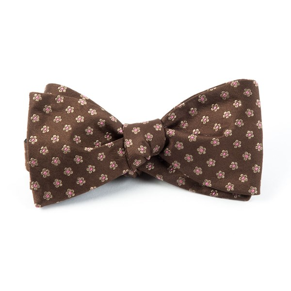 Chocolate Brown Anemones Bow Tie