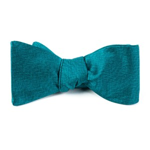 melange twist solid green teal bow ties