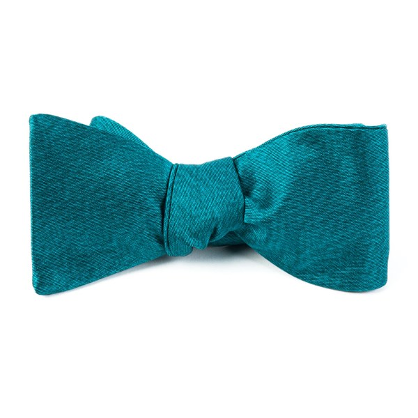 Green Teal Melange Twist Solid Bow Tie