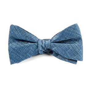 debonair solid slate blue bow ties