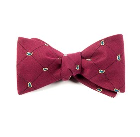 Burgundy Paisley System bow ties