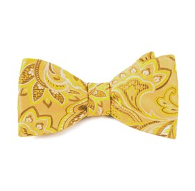 Organic Paisley Gold Bow Ties