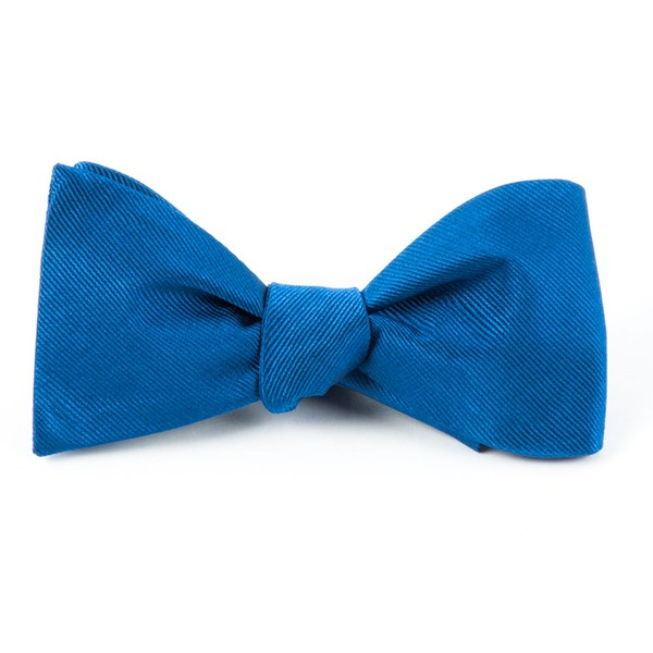 Classic Blue Grosgrain Solid Bow Tie
