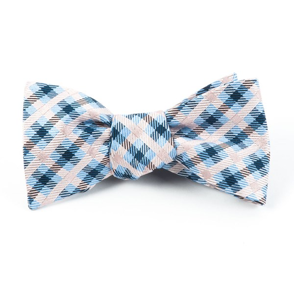 Blush Pink Power Checks Bow Tie