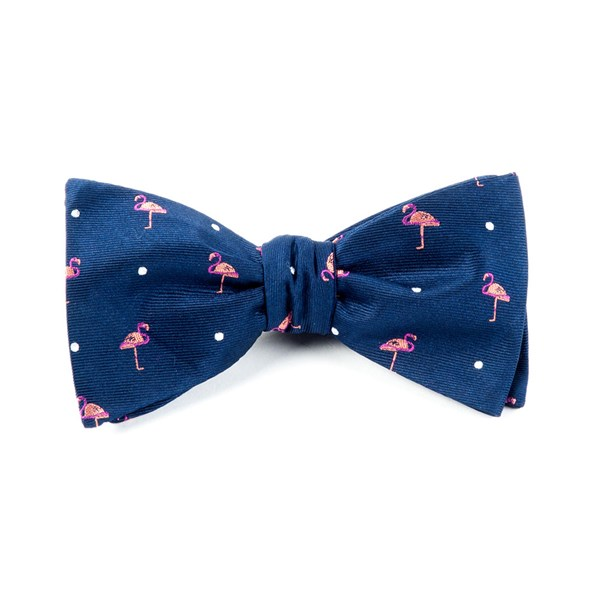Navy Pink Flamingo Bow Tie