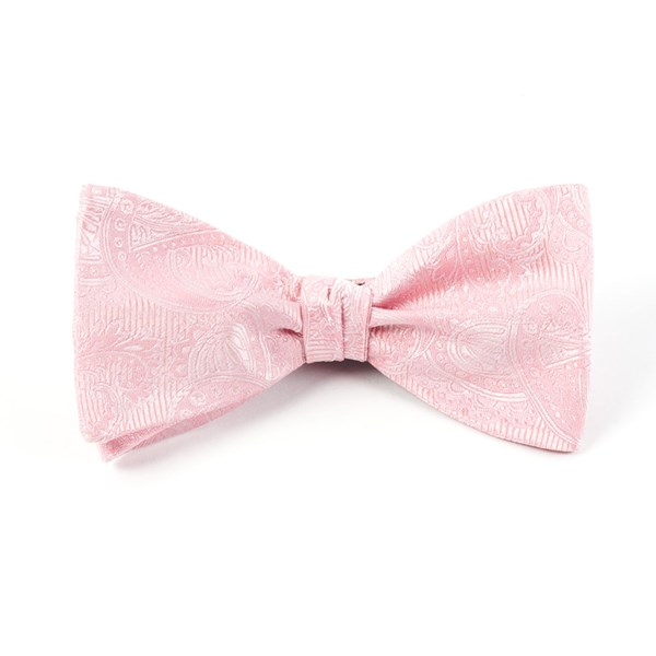 Blush Pink Twill Paisley Bow Tie