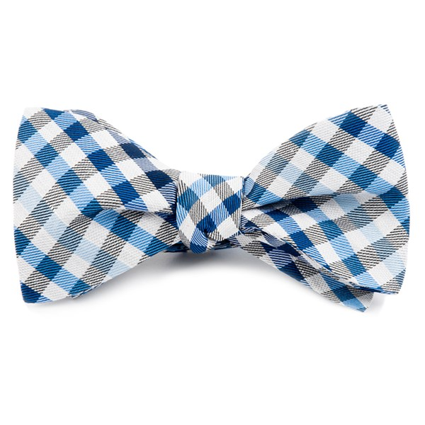 Blue Gibson Check Bow Tie
