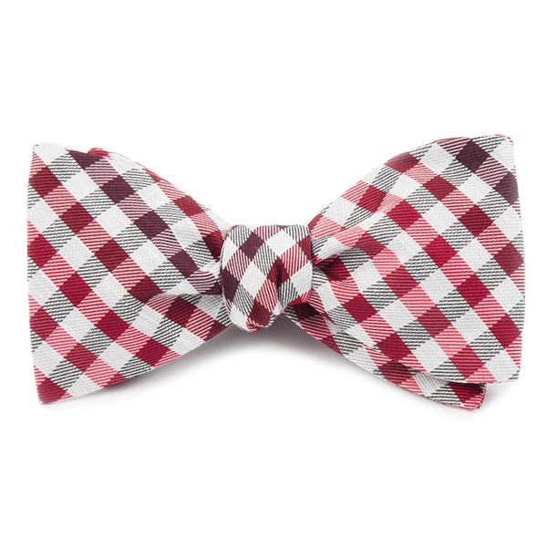 Red Gibson Check Bow Tie