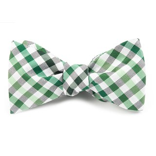 gibson check green bow ties