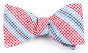Bow Ties - GINGHAM STRIPES - Red