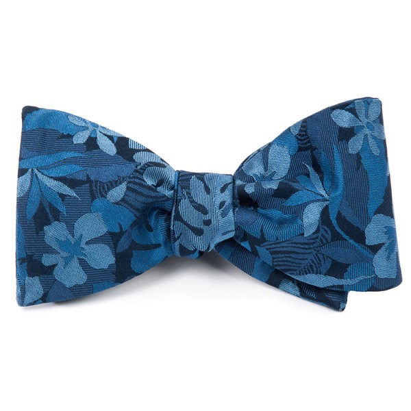 Classic Blue Island Floral Bow Tie