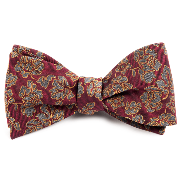 Burgundy Intellect Floral Bow Tie