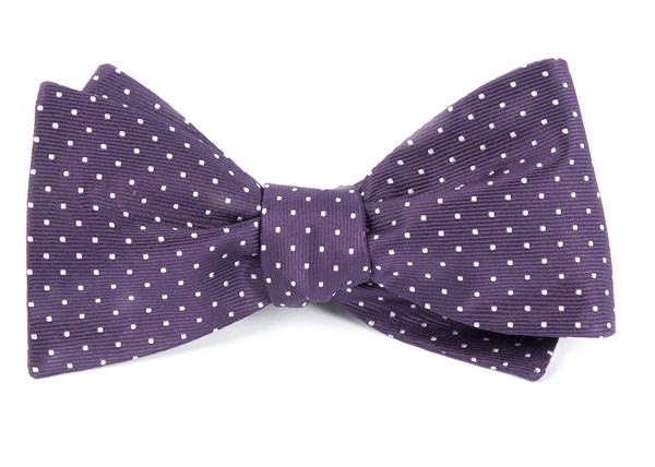 Mini Dots Eggplant Bow Tie