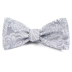 designer paisley silver bow ties