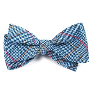 professor plaid light blue bow ties