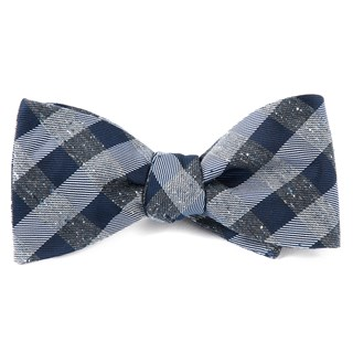 Splattered Gingham Deep Slate Blue Bow Tie