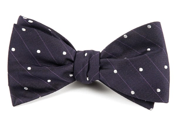Ringside Dots Eggplant Bow Tie