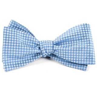 Be Married Checks Light Blue Bow Tie