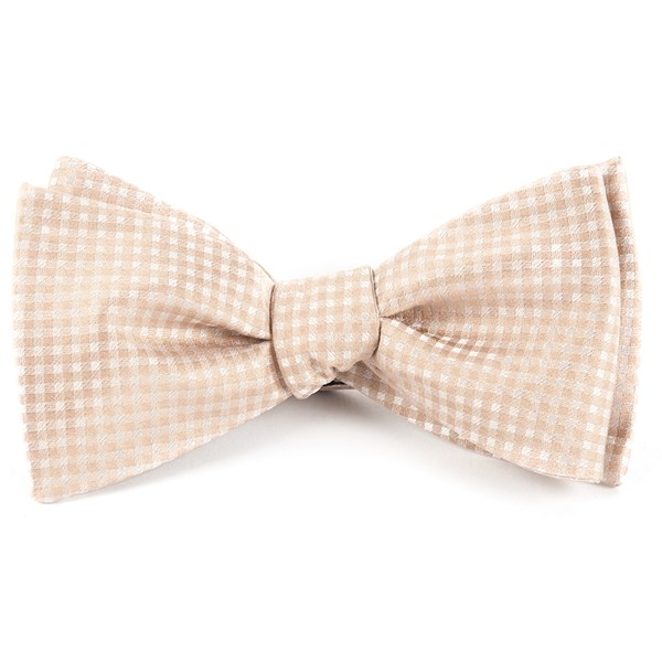 Champagne Be Married Checks Bow Tie