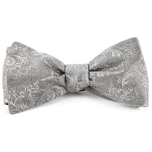 ceremony paisley silver bow ties