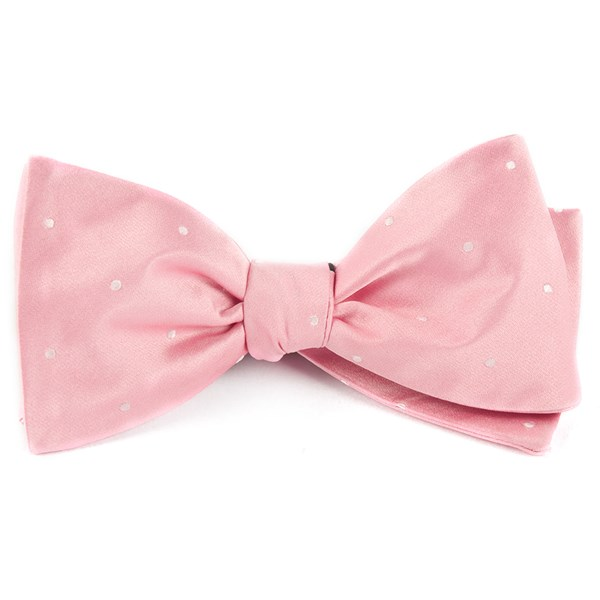 Baby Pink Satin Dot Bow Tie