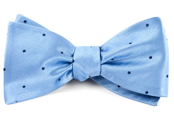 Satin Dot Light Blue Bow Tie