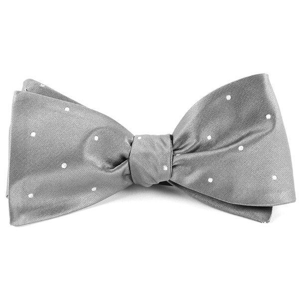 Silver Satin Dot Bow Tie