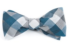 Bow Ties - Pitch Plaid - Whale Blue