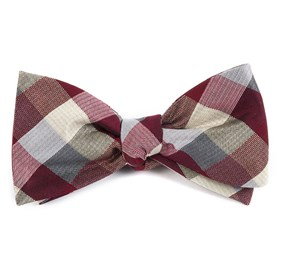 Burgundy Pitch Plaid bow ties