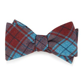 Red Merchants Row Plaid bow ties