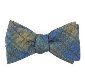 Merchants Row Plaid Classic Blue Bow Ties